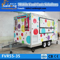 CE Approved Custom Fast Food Cart/BBQ Trailer mobile food car for sale