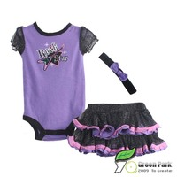 Girls Lilac Rock Star Rompers+Tutu Skirts 2pcs Clothing Sets Baby Suits infant rompers sets