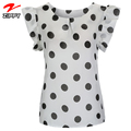 2018 New Design Fashionable Ruffle Trim Polka Dot Round Neck Blouse , Summer Casual Blouse