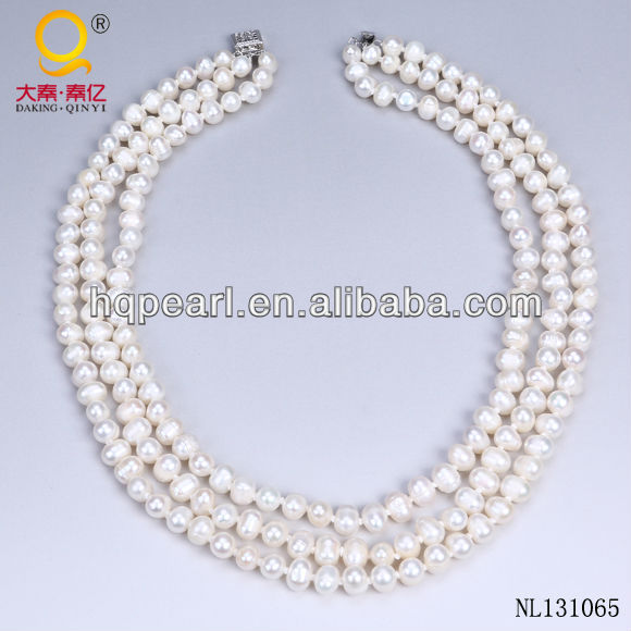 fashion jewellery design 3 strand pearl necklace