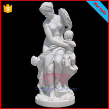 White marble decorative stone mother and children statues mother baby sculpture