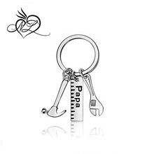 Father Gift Papa Ruler Wrench Hammer Key Chain Ring Tool Charms Pendant My Dad Can Fix Anything for Men