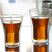 Heat-resistant double wall glass drinking cup without handle
