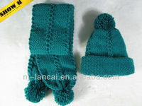 2013 fashion winter Ladies knitted cable hat scarf set with pom-pom