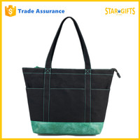 2016 Hot Style Wholesale Canvas Beach Tote Bag With Zipper Closure