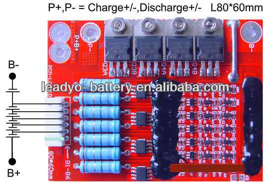 protection circuit module for 6s 19.2V PCM 6s 19.2V BMS lifepo4 for battery cells with balance fuction