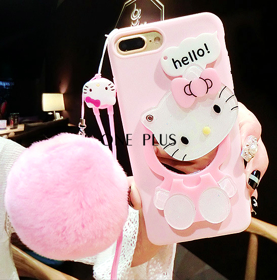 Cartoon Hello Kitty Mirror Mobile Phone Case For Iphone7 Anti Gravity Silicone Phone Case For Plus6 With Rex Rabbit Fur Ball