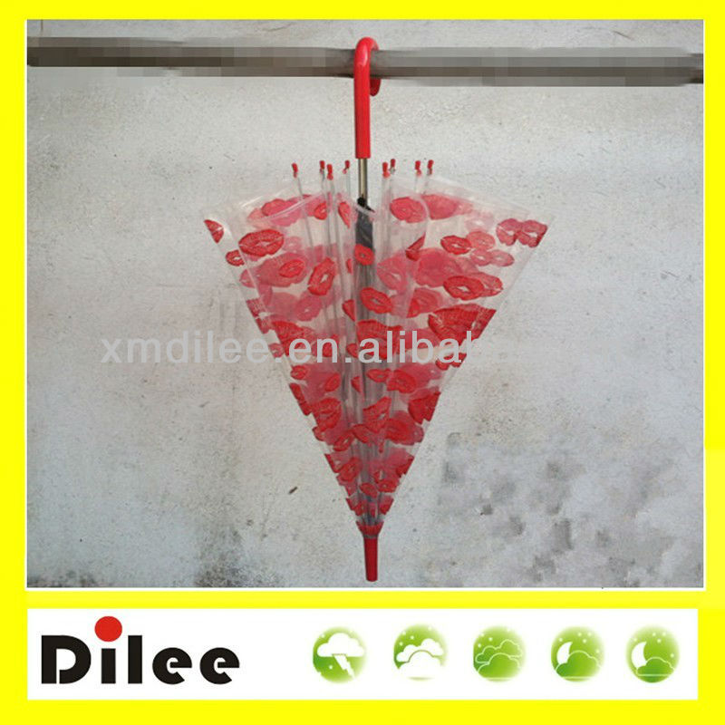 red kiss printed clear steel straight umbrella