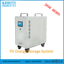2KW complete solar home energy system with MPPT solar charger inverter lithium battery pack backup home power