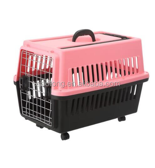 PP Plastic Pet Carrier Dog Flight Cage Dog Crate Manufacturers Pet Carrier With Draw-bar