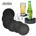 RENJIA silicone drink coasters black silicone drink coasters set coasters for drinks