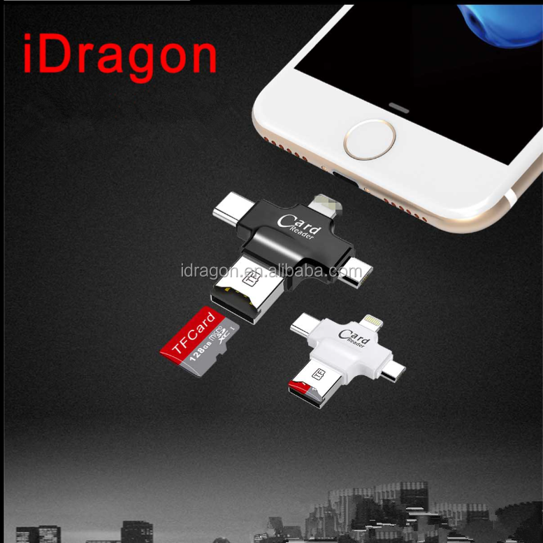 High Speed USB2.0 4 in 1 mini TF Card Reader for Mobile phone with Factory Price