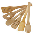 Hot sale 6pcs Cooking Utensils Natural Bamboo Wood Kitchen Slotted Spatula Spoon Mixing Holder Dinner Food Rice Wok Shovels