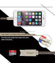 High Quality smart cable card reader for Iphone/TF charging cable with card reader 2 in 1