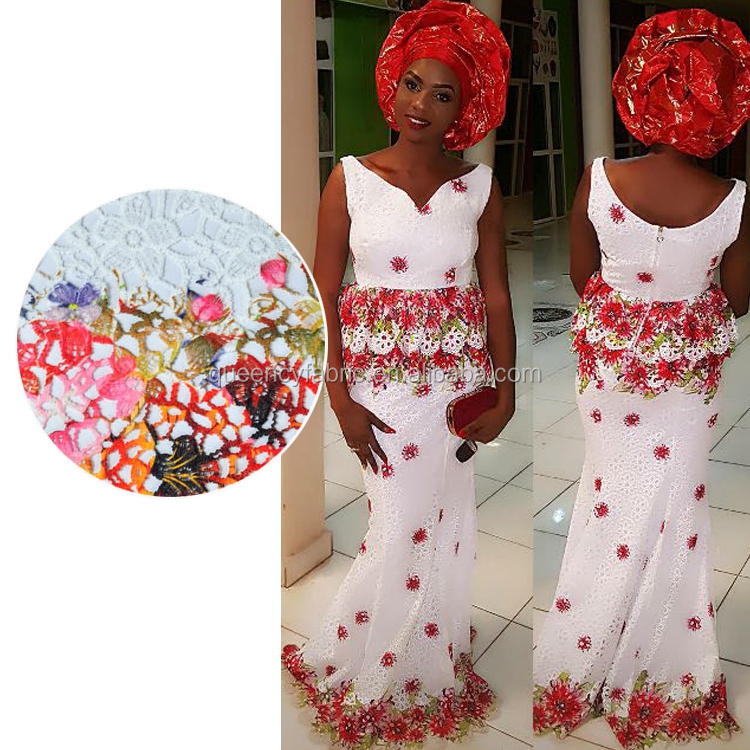 CQ054 Queency Heavy Cotton African Wedding Dress Embroidered Guipure Lace Fabric for Nigerian Party