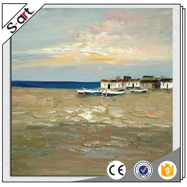 High quality new arrival seaside landscape canvas oil painting with frame