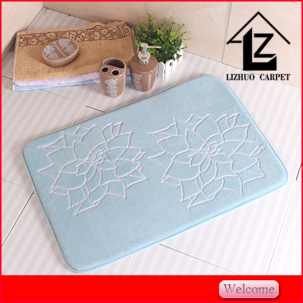 new style heated embossing flower pvc backing bathmat livingroom carpet bedroom rugs