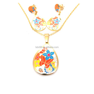 New Arrivals 316L Stainless Steel Gold Plated Female Colorful Enamel Butterfly Pendant Earrings Necklace Jewelry Set Wholesales