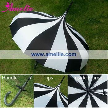 Bella's Vintage-Inspired Pagoda Umbrella with Black and White Stripes Colors