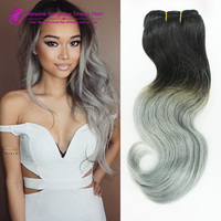 Brazilian Virgin Hair Best Quality 8A Ombre #1b/Silver Grey Ombre Hair Extensions Human Hair Weaves body wave