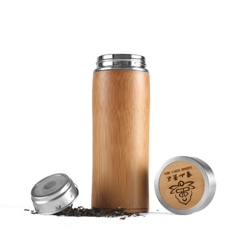 Custom logo bamboo stainless steel thermal water bottle
