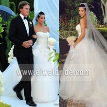 Fashion sweetheart white tulle ball gown ladies wedding dress
