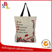 Promotional eco friendly natural handled organic canvas cotton shopping tote bag