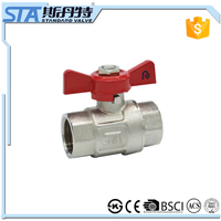 ART.1003 1/2 3/4 1 inch brass ball valve with brass boby stainless steel butterfly handle and npt thread H59-1 and high pressure