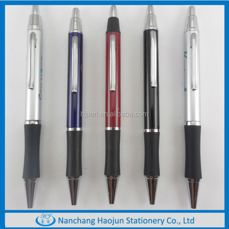 Newest promotional Metal Small Stainless Steel Click Pen with rubber grip