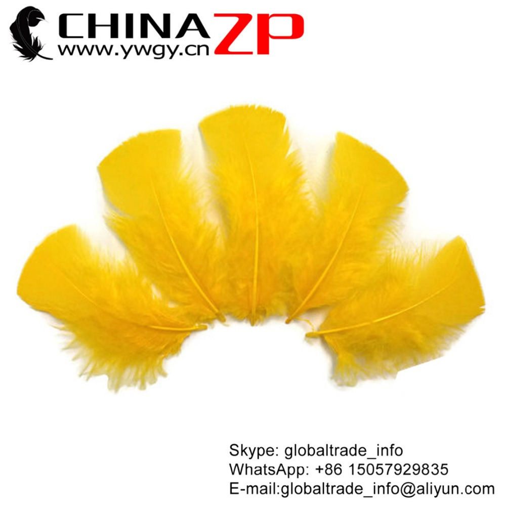 CHINAZP Bulk Plumage Eagle Natural Dyed Golden Yellow Turkey T-Base Body Feathers for Sale