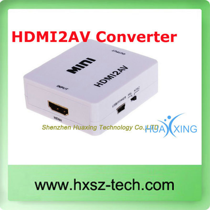 In Stock HDMI to RCA AV Converter Adapter Mini HDMI2AV Converter 1080P Mini HD Video Converter Box