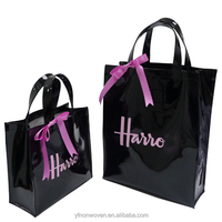 Luxury PVC vinyl shopping bag shiny shopper tote harrod customized bag high quality