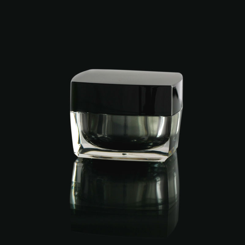 50g Black Cap Double Gold Wall Square Clear Cream Jar