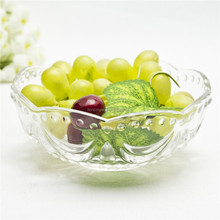 Home use table decorative glass fruit bowl of flower shape mouth for sale