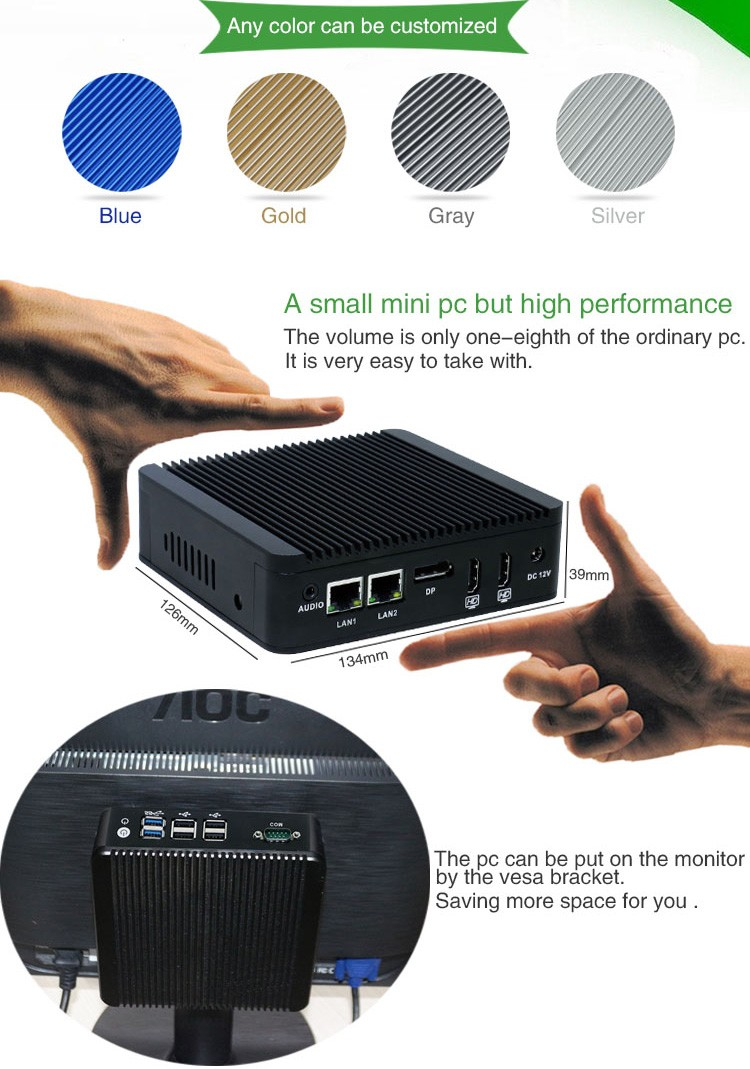 IWILL aluminum celeron N3160 quad core Fanless micro computer with 6USB and 2HDMI