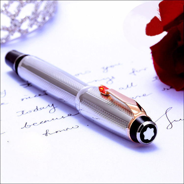 Free Shipping - PURE PEARL MB-SPECIAL BOHEME Series High Quality Best Design Silver Color Roller Ball Pen with Wave Cover