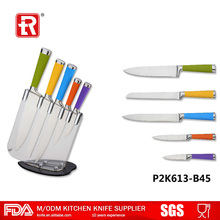 Hot sale stainless steel 5 pcs kitchen knives set with TPR colorful hollow handle