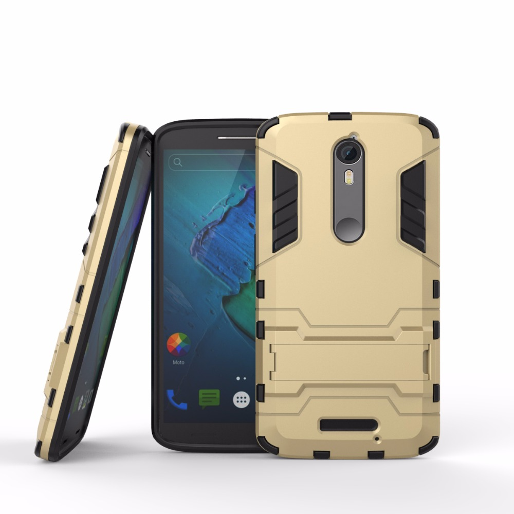 Top Quality Anti <strong>shock</strong> kickstand TPU PC case cover for moto x force turbo 2