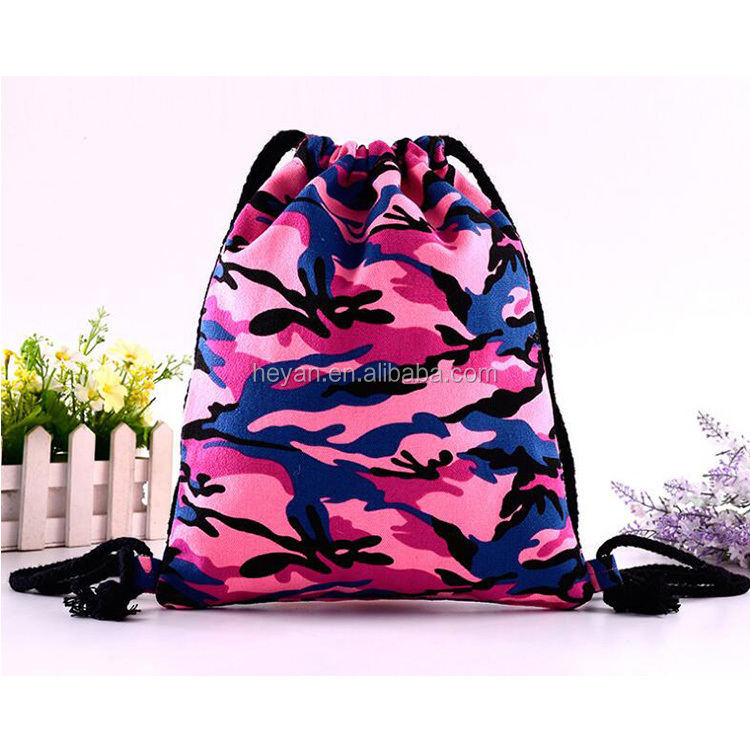 Customized Camouflage Full Color Cotton Canvas Drawstring Backpack