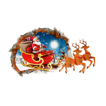Presents Wall Decals Sticker 3D Pictures of Christmas Santa Claus For Home Wall Decoration