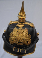 Bavarian leather with medium brass spike Helmets