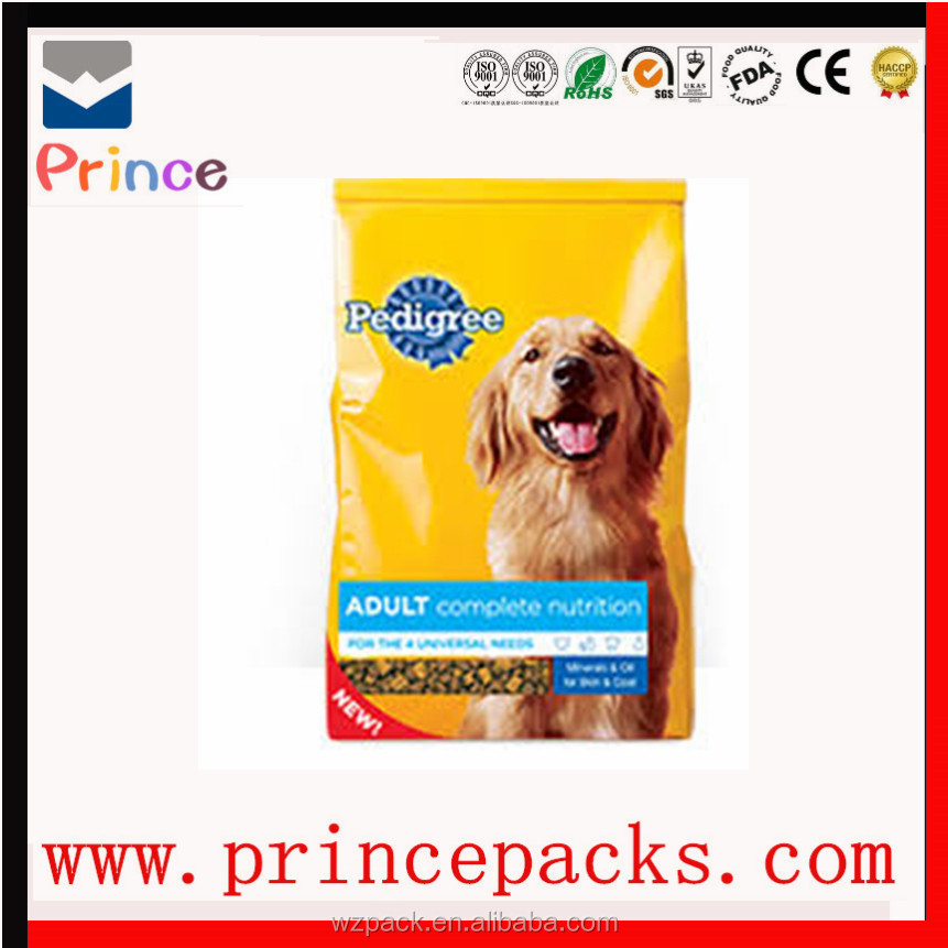 custom printed foil plastic bag/wholesale pedigree dog food/snack packaging bags