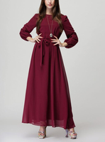 Muslim Women Bow Long Sleeve Maxi Dress Pictures