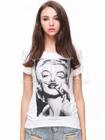 T-shirts Tops fashion women girl clothes White Short Sleeve Beauty Print T-Shirt