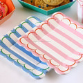 "Candy Stripes party tableware Blue Pink Stripe 7"" Party Plates"