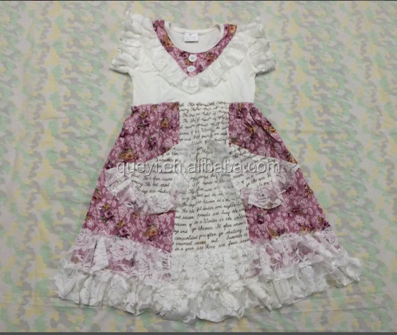 Fashion kids girls ruffle bib printing dresses wholesale baby boutique dress design children clothing puffy