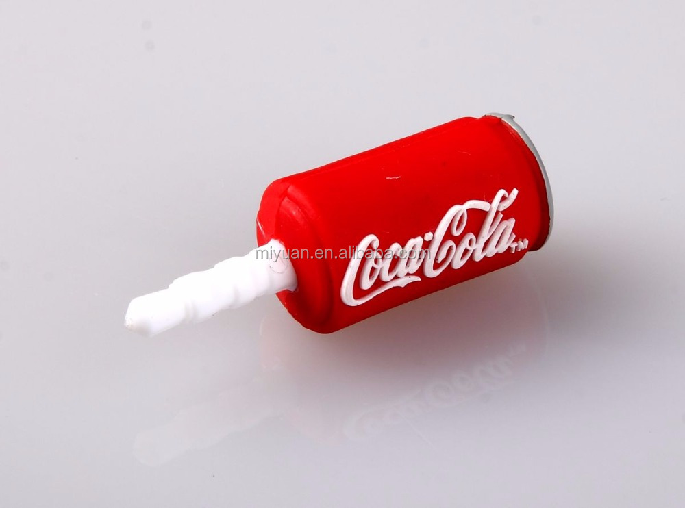 Wholesale COCACOLA silicone can shaped Mobile Phone Dust Proof Plug for all phones for 3.5mm earphone
