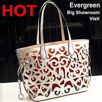 2016 wholesale genuine leather handbag Mexico Hollow shoulder handbag made in pu leather