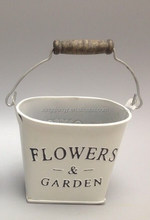 antique metal flower oval pot white wash