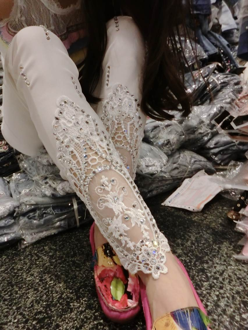 C81729A Rhinestone stitching embroidered organza lace feet pants